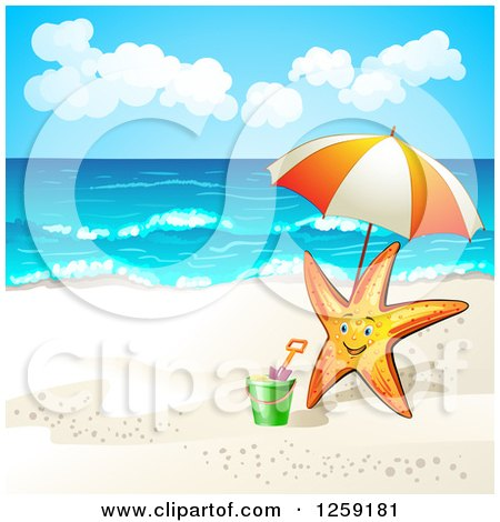 Clipart of a Happy Starfish with an Umbrella on a Beach - Royalty Free Vector Illustration by merlinul