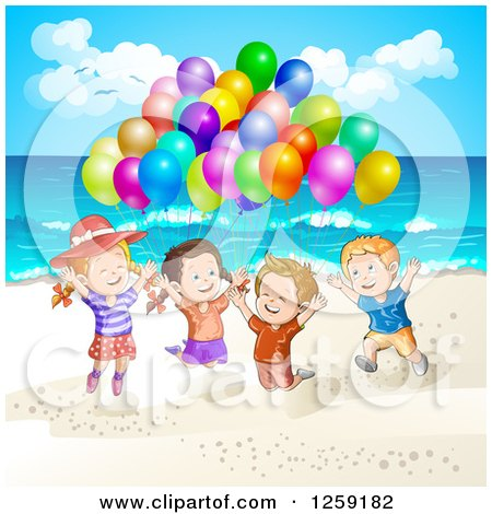 Clipart of Excited Children Jumping with Balloons at the Beach - Royalty Free Vector Illustration by merlinul