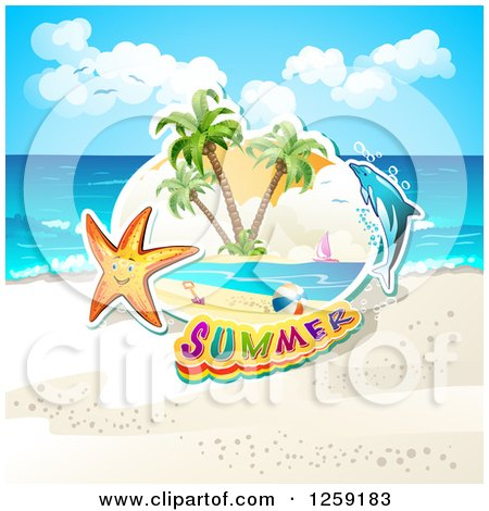 Clipart of a Happy Starfish Summer Text and a Dolphin on a Beach - Royalty Free Vector Illustration by merlinul