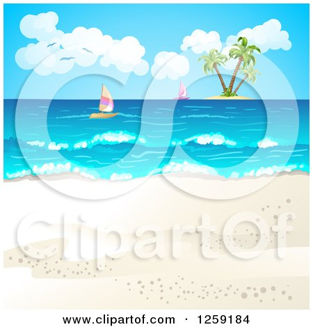 Clipart of a Tropical Beach Background with Sailboats and an Island - Royalty Free Vector Illustration by merlinul