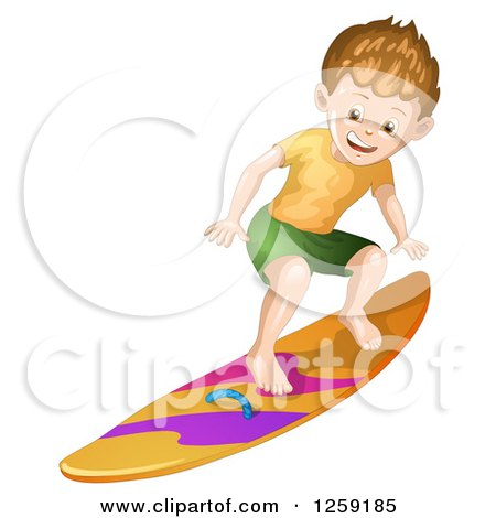 Clipart of a Sporty White Surfer Boy - Royalty Free Vector Illustration by merlinul