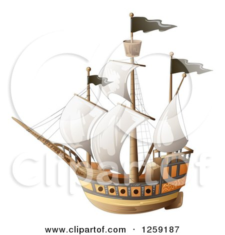 Clipart of a Ship with Black Flags - Royalty Free Vector Illustration by merlinul