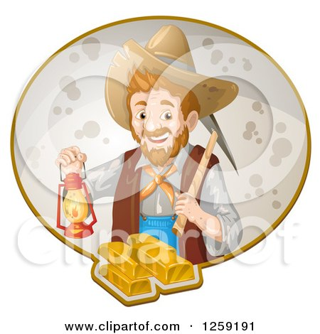 Clipart of a Happy Male Prospector with a Pickaxe and Lantern over Gold Bars - Royalty Free Vector Illustration by merlinul