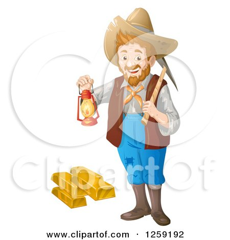 Clipart of a Happy Male Prospector Standing with a Pickaxe and Lantern over Gold Bars - Royalty Free Vector Illustration by merlinul