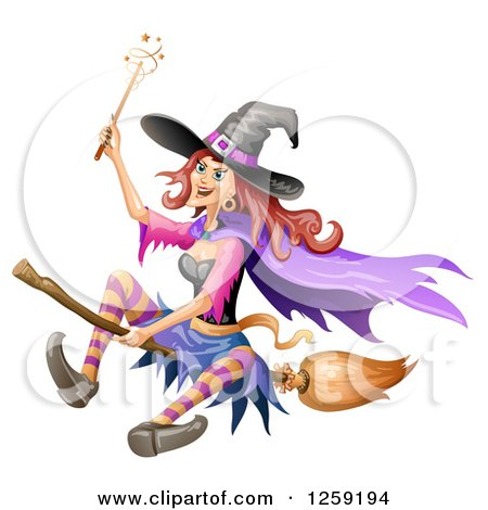 Clipart of a Flying Evil Witch - Royalty Free Vector Illustration by merlinul
