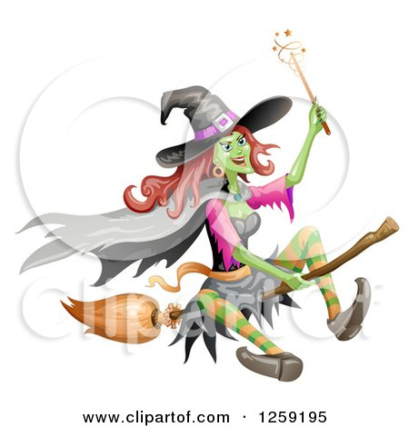 Clipart of a Flying Evil Green Witch - Royalty Free Vector Illustration by merlinul