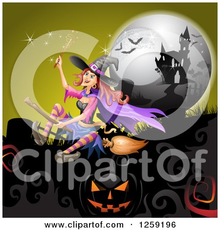 Clipart of a Flying Evil Witch over a Full Moon Jackolanterns Bats and Haunted Mansion - Royalty Free Vector Illustration by merlinul