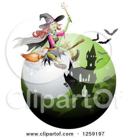 Clipart of a Flying Evil Green Witch over a Full Moon Bats and Haunted Mansion - Royalty Free Vector Illustration by merlinul