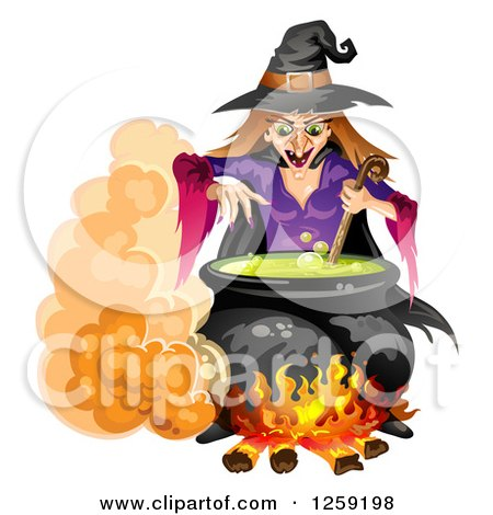 Clipart of an Evil Witch Mixing a Spell in a Cauldron - Royalty Free Vector Illustration by merlinul