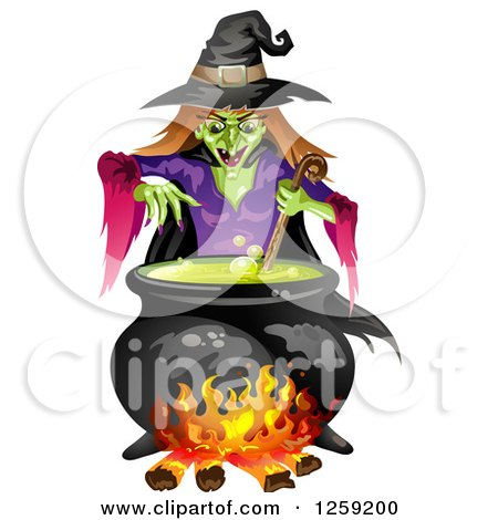 Clipart of an Evil Green Witch Mixing a Spell in a Cauldron - Royalty Free Vector Illustration by merlinul