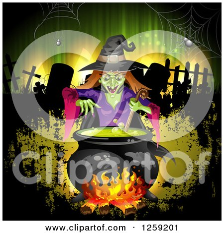 Clipart of an Evil Green Witch Mixing a Spell in a Cauldron over a Cemetery and Grunge - Royalty Free Vector Illustration by merlinul