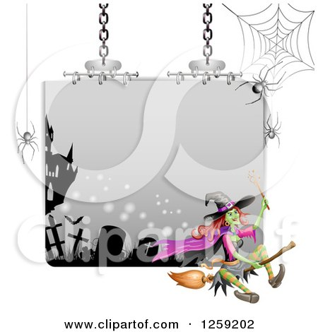 Clipart of a Flying Evil Green Witch over a Sign with Spiderwebs - Royalty Free Vector Illustration by merlinul