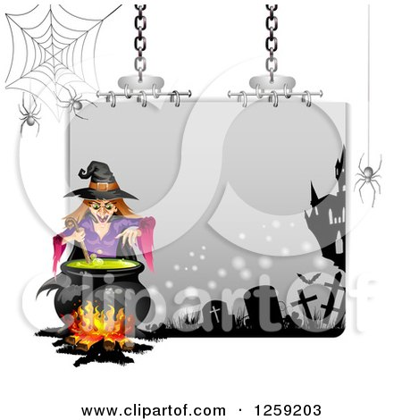 Clipart of an Evil Green Witch Mixing a Spell at a Cauldron over a Halloween Sign - Royalty Free Vector Illustration by merlinul