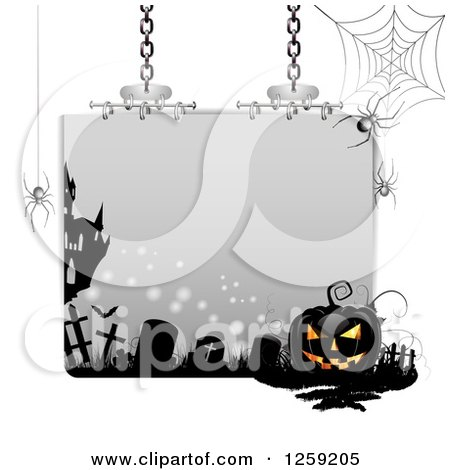 Clipart of a Halloween Sign with a Jackolantern Tombstones and Spider Webs - Royalty Free Vector Illustration by merlinul