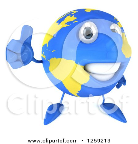 Clipart of a 3d Happy Earth Character Giving a Thumb up - Royalty Free Illustration by Julos