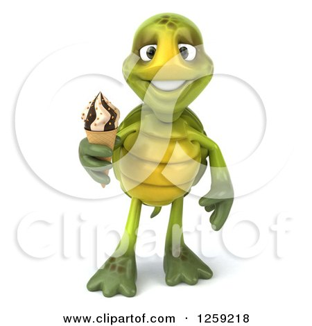 Clipart of a 3d Tortoise Holding an Ice Cream Cone - Royalty Free Illustration by Julos