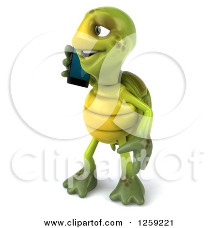 Clipart of a 3d Tortoise Talking on a Cell Phone - Royalty Free Illustration by Julos