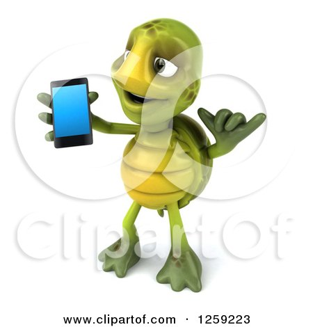 Clipart of a 3d Tortoise Gesturing Call Me and Holding a Cell Phone - Royalty Free Illustration by Julos