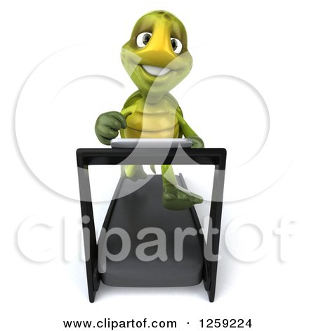 Clipart of a 3d Tortoise Turtle Running on a Treadmill - Royalty Free Illustration by Julos