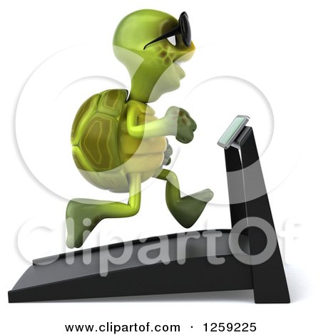 Clipart of a 3d Tortoise Turtle Wearing Sunglasses and Running on a Treadmill - Royalty Free Illustration by Julos