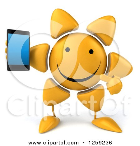 Clipart of a 3d Happy Sun Character Holding a Cell Phone - Royalty Free Illustration by Julos