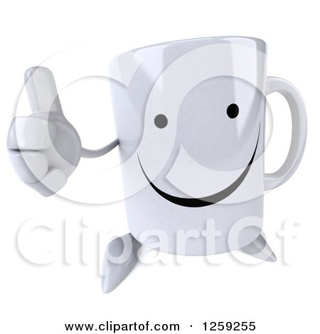Clipart of a 3d Happy Coffee Mug Holding a Thumb up - Royalty Free Illustration by Julos