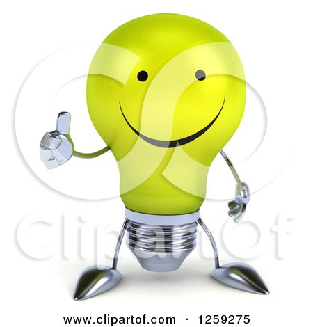 Clipart of a 3d Yellow Light Bulb Character Holding a Thumb up - Royalty Free Illustration by Julos