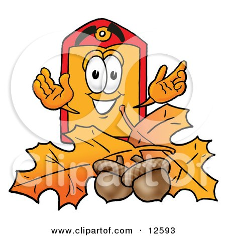 Clipart Picture of a Price Tag Mascot Cartoon Character With Autumn Leaves and Acorns in the Fall by Toons4Biz