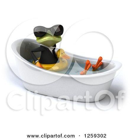 Clipart of a 3d Green Business Springer Frog Wearing Sunglasses and Sitting in a Tub with an Inner Tube - Royalty Free Illustration by Julos