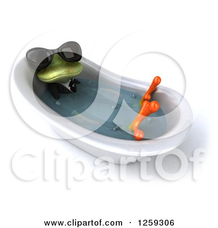 Clipart of a 3d Green Business Springer Frog Wearing Sunglasses and Sitting in a Tub - Royalty Free Illustration by Julos