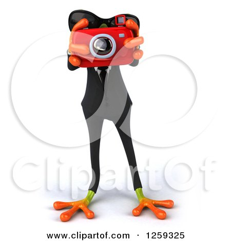 Clipart of a 3d Green Business Springer Frog Taking Pictures - Royalty Free Illustration by Julos