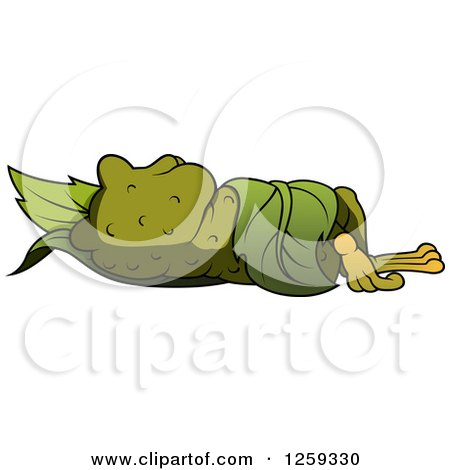 Clipart of a Toad Sleeping in a Leaf - Royalty Free Vector Illustration by dero