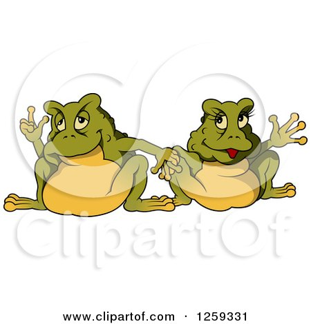 Clipart of a Toad Couple Holding Hands - Royalty Free Vector Illustration by dero