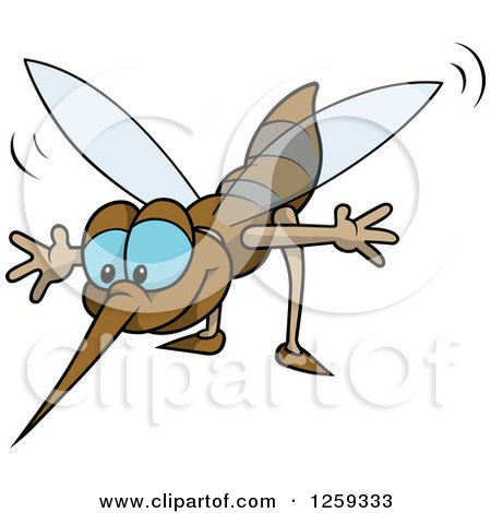 Clipart of a Happy Blue Eyed Mosquito - Royalty Free Vector Illustration by dero