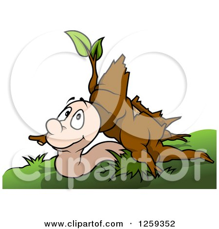 Clipart of a Worm Under a Stump - Royalty Free Vector Illustration by dero