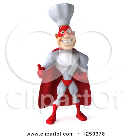 Clipart of a 3d Male Super Chef Holding a Thumb up - Royalty Free Illustration by Julos