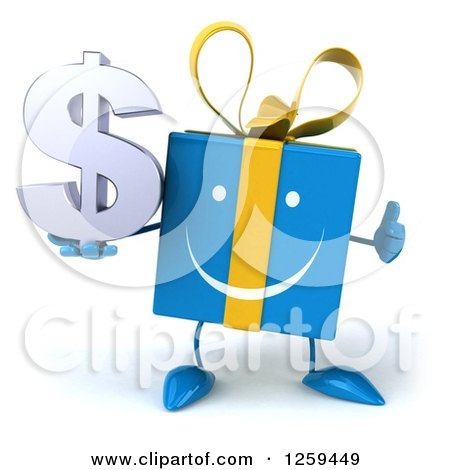 Clipart of a 3d Blue Gift Character Holding a Dollar Symbol and Thumb up - Royalty Free Illustration by Julos