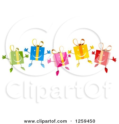 Clipart of 3d Colorful Happy Gifts Jumping - Royalty Free Illustration by Julos