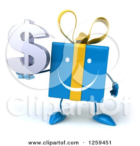 Clipart of a 3d Blue Gift Character Holding a Dollar Symbol - Royalty Free Illustration by Julos
