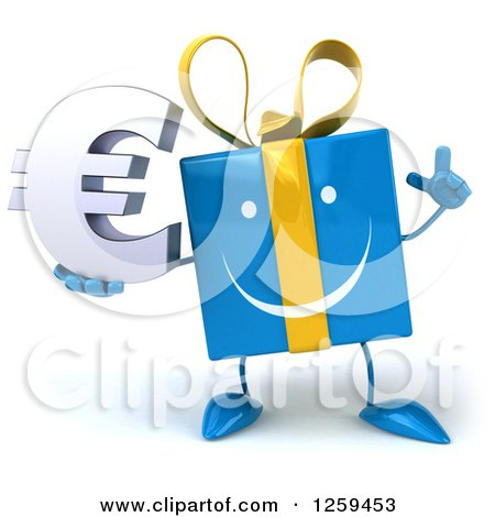 Clipart of a 3d Blue Gift Character Holding a Euro Symbol - Royalty Free Illustration by Julos