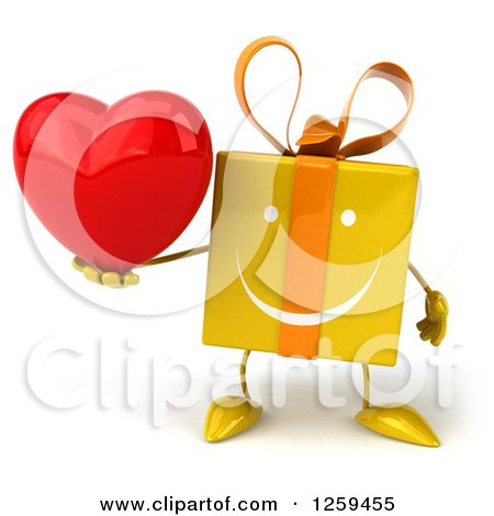 Clipart of a 3d Yellow Gift Character Holding a Heart - Royalty Free Illustration by Julos