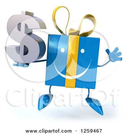 Clipart of a 3d Blue Gift Character Jumping and Holding a Dollar Symbol - Royalty Free Illustration by Julos