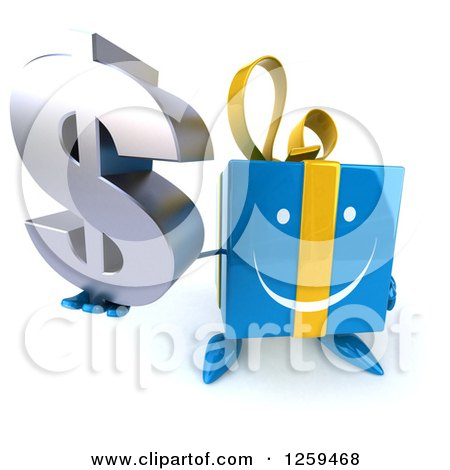 Clipart of a 3d Blue Gift Character Holding up a Dollar Symbol - Royalty Free Illustration by Julos