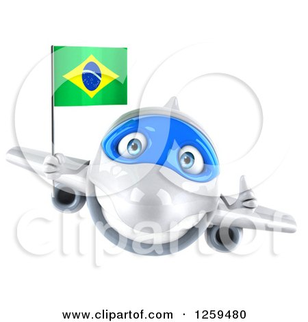 Clipart of a 3d Happy Blue and White Airplane Flying with a Brazilian Flag - Royalty Free Illustration by Julos
