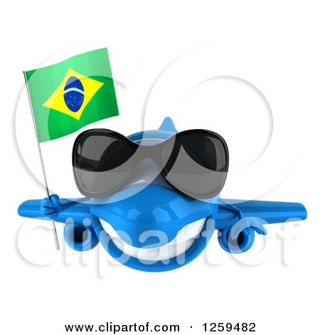 Clipart of a 3d Happy Blue Airplane Wearing Sunglasses and Flying with a Brazilian Flag - Royalty Free Illustration by Julos