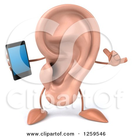 Clipart of a 3d Ear Character Holding a Smart Phone - Royalty Free Illustration by Julos