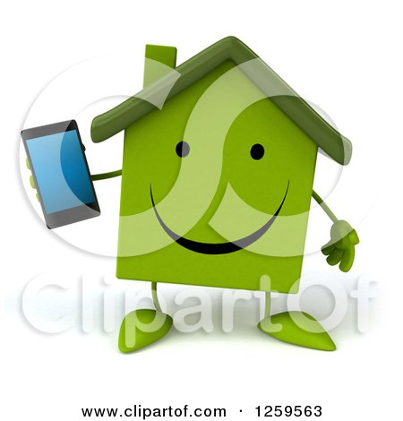 Clipart of a 3d Green House Holding a Cell Phone - Royalty Free Illustration by Julos