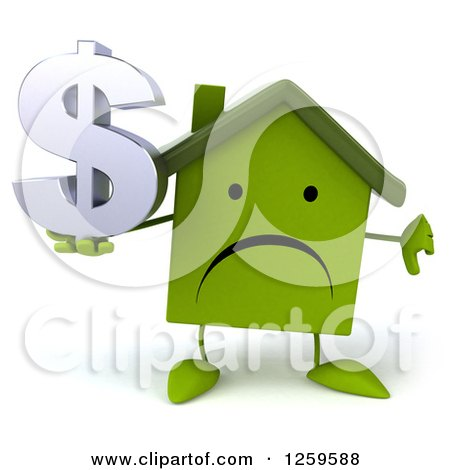 Clipart of a 3d Sad Green House Character Holding a Dollar Symbol and Thumb down - Royalty Free Illustration by Julos