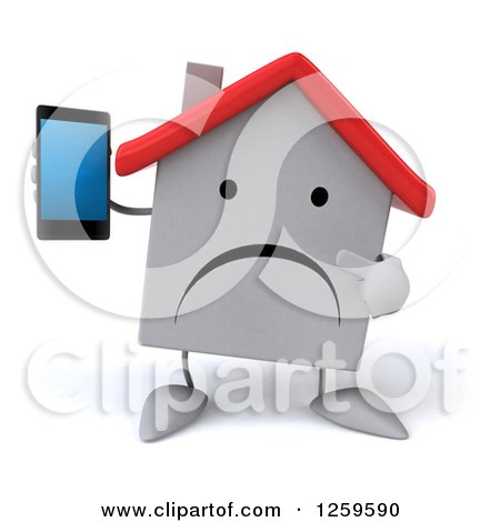 Clipart of a 3d White House Holding a Cell Phone - Royalty Free Illustration by Julos