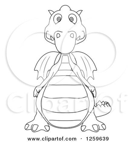 Clipart of a Black and White Dragon - Royalty Free Illustration by Julos
